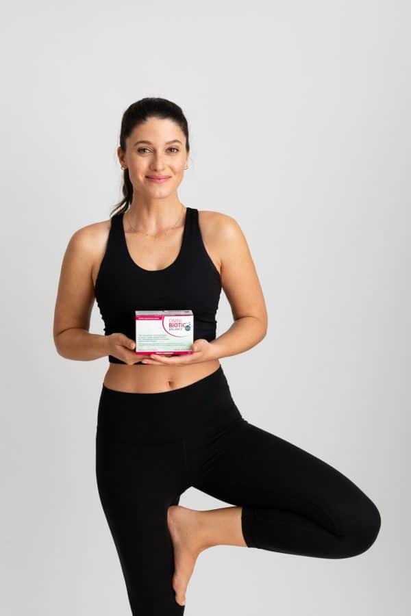 Omni-Biotic Balance probiotic with female model