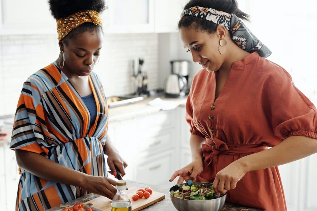 Women Preparing Salad Aa