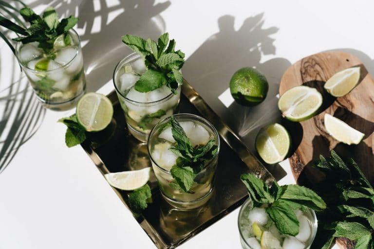 alcoholic drinks with fresh mint leaves and limes