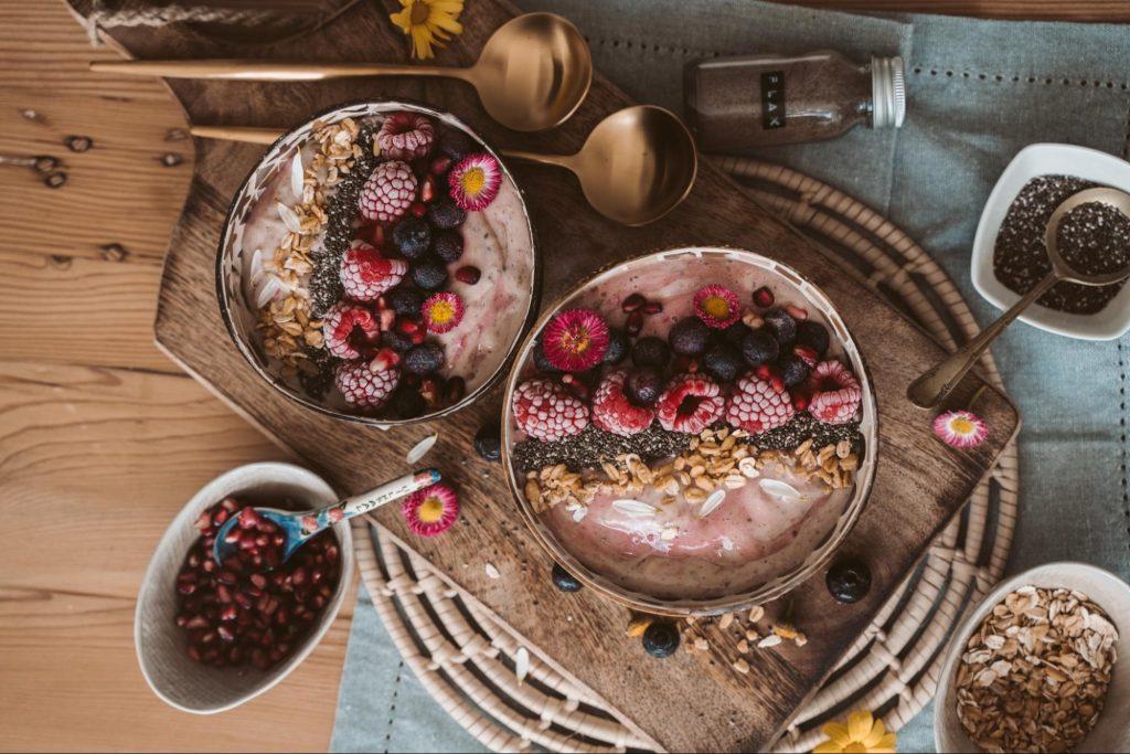 Fruit and yogurt smoothie bowl.